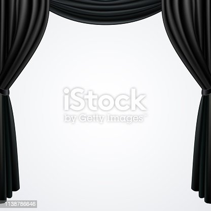 Black curtains drapes isolated on white background, vector illustration