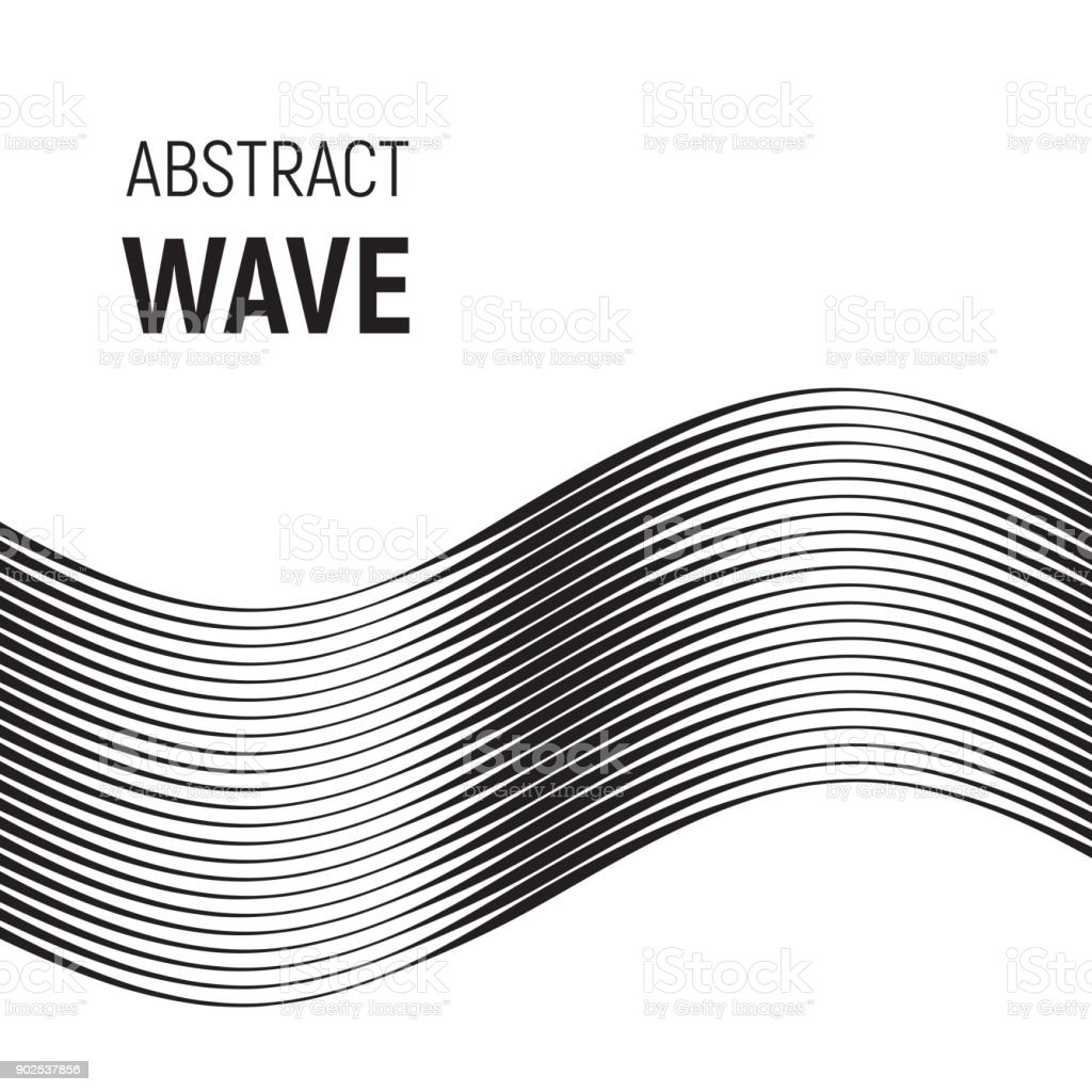 Black curved lines with variable thickness vector art illustration