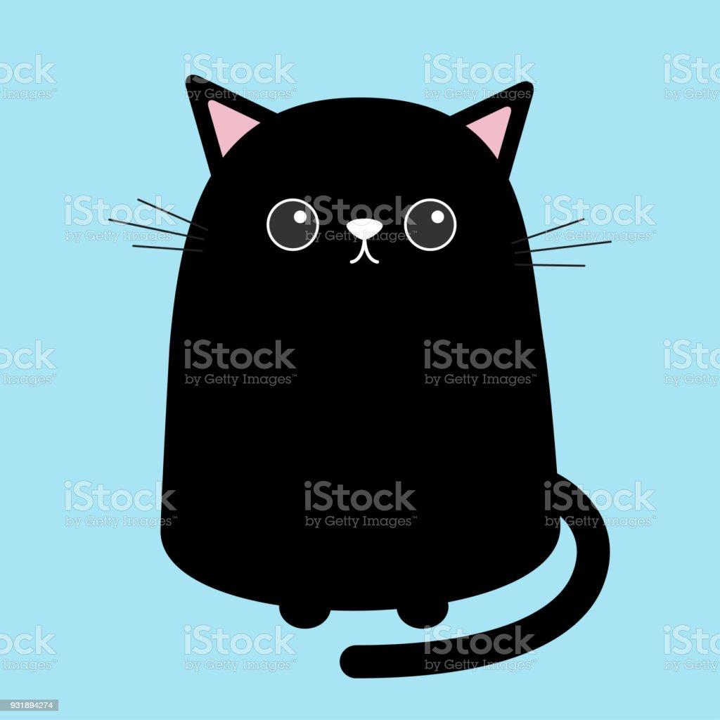 Süße Schwarze Katze Sitzend Kätzchen Kitty Zeichentrickfigur Kawaii ...