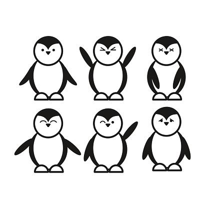 black cute funny penguin set flat icon