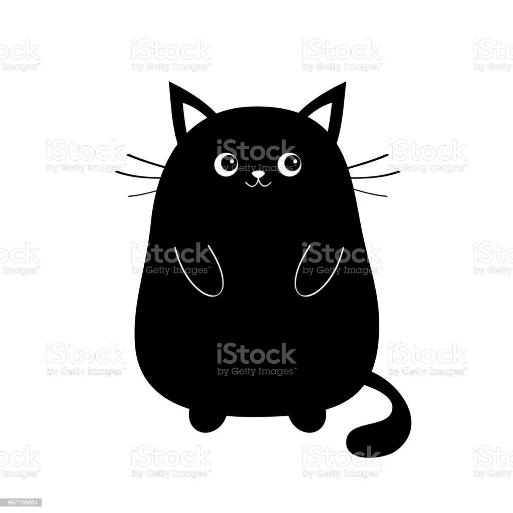 Black Mignon Assis Silhouette De Chaton Bébé Chat Kawaii
