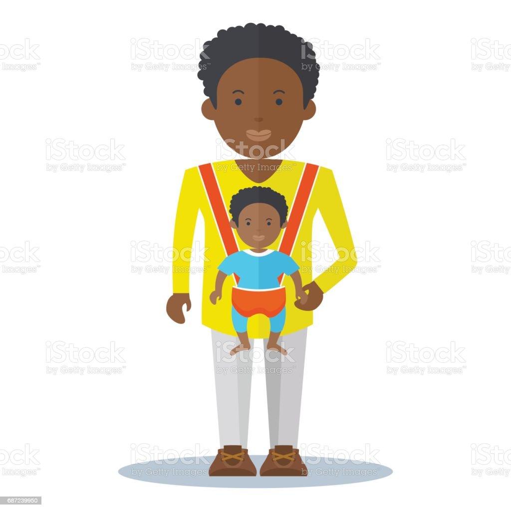 black dad and baby boy vector art illustration