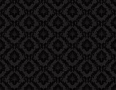 Seamless black damask luxury decorative textile pattern.