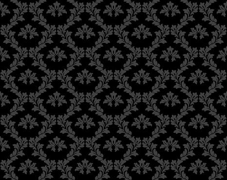 Black Damask Luxury Decorative Textile Pattern