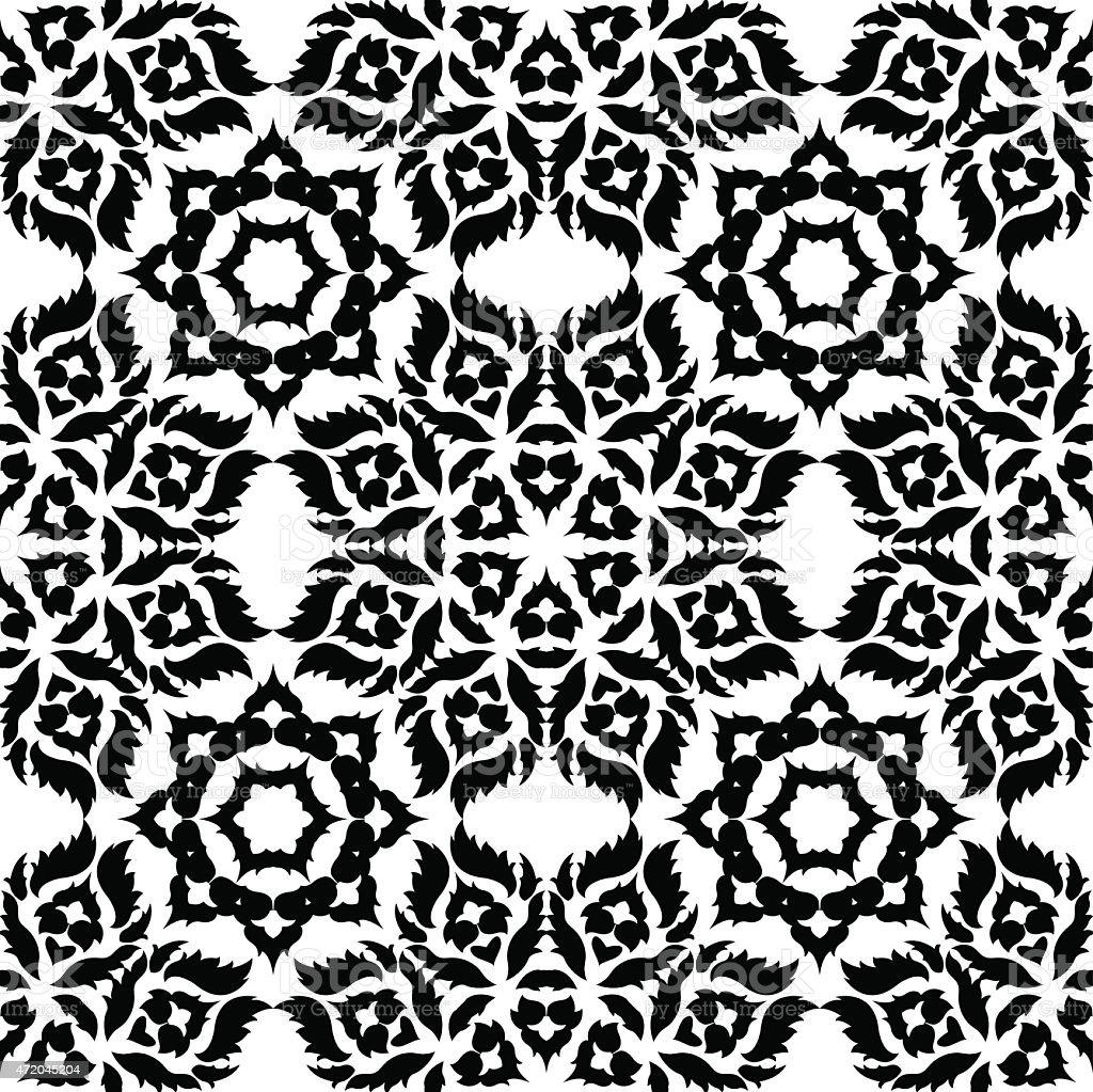 Nero Pattern Damascato Su Sfondo Bianco Immagini Vettoriali Stock