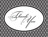 Black Damask Pattern Thank You Note