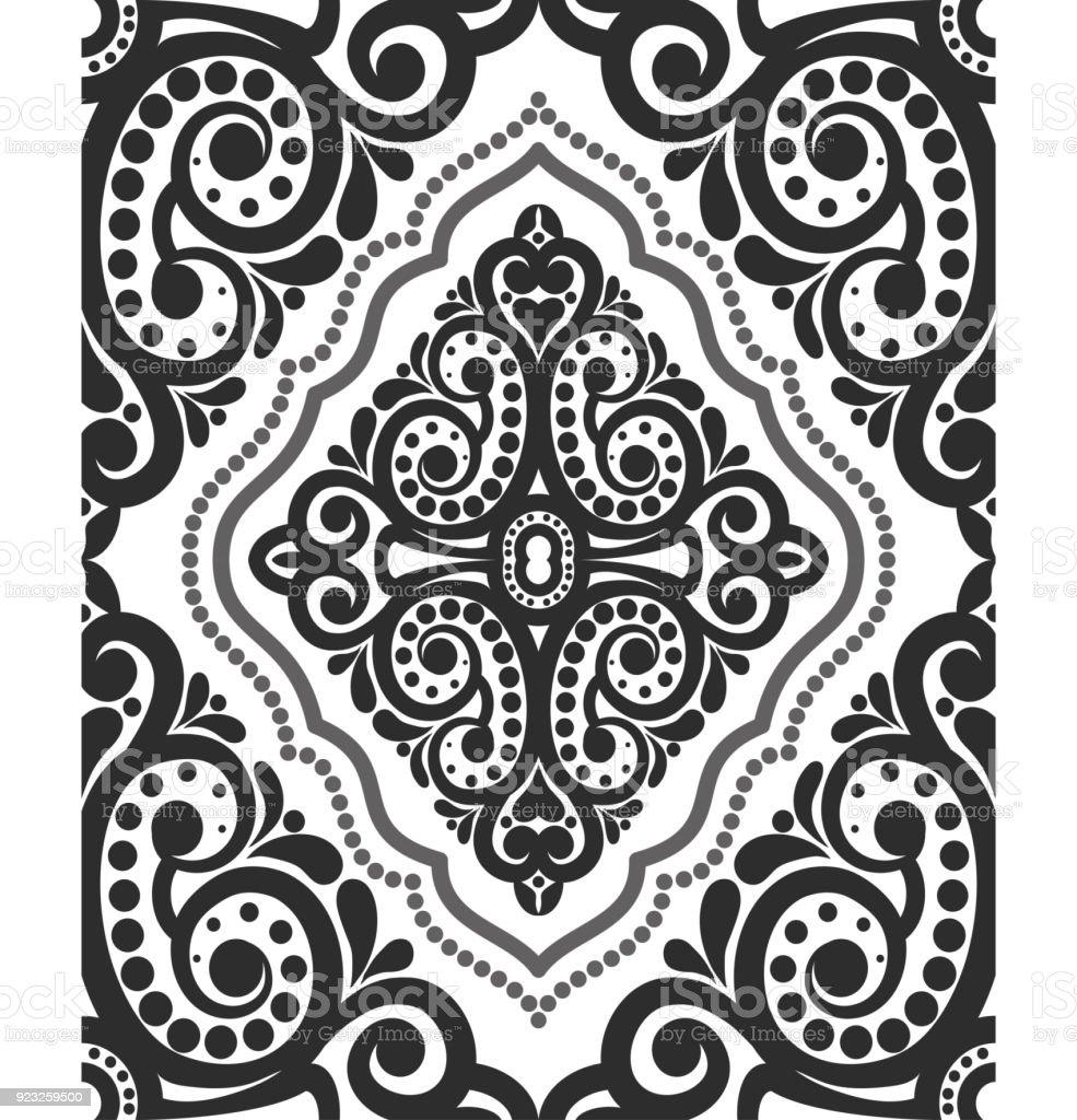 Black Damask Vintage Floral Pattern Vector Illustration Stock