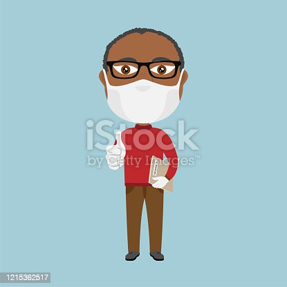 Black dark skin Afro African Old school professor teacher with mask and white gloves thumbs up and grey science book brown pants and red jumper beard glasses