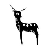 Black deer silhouette isolated on white background. Cute wild animal graphics. Vector illustration. Symbol for logo design, block print, laser cut and others.