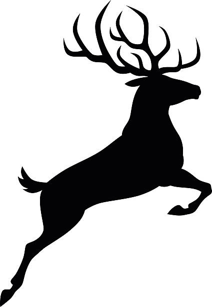 black deer - reindeer stock illustrations