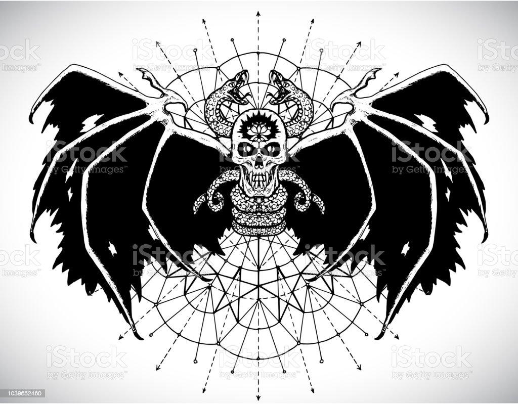 black demon skull and sacred geometry circle stock vector art more