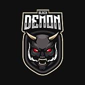 Demon mascot logo design vector with modern illustration concept style for badge, emblem and t shirt printing. Black demon illustration for e-sport team