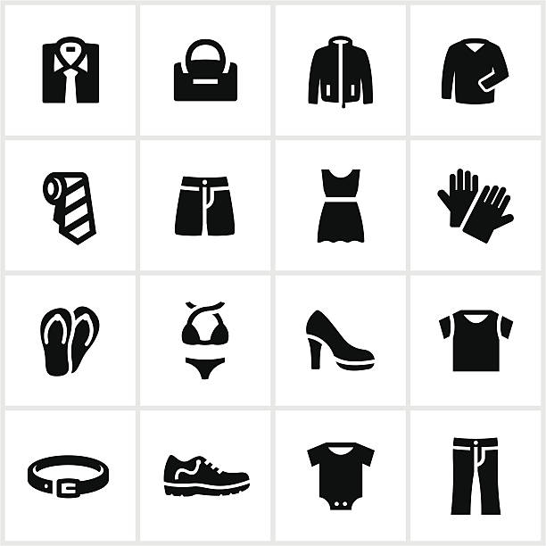 Black Department Store Clothing Icons Department store clothing icons. All white strokes/shapes are cut from the icons and merged allowing the background to show through. infant bodysuit stock illustrations