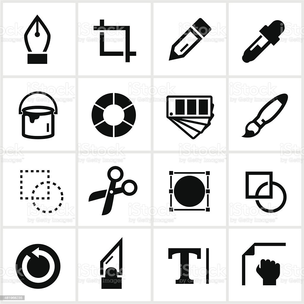 Black Design Tools Icons royalty-free black design tools icons stock vector art & more images of back arrow