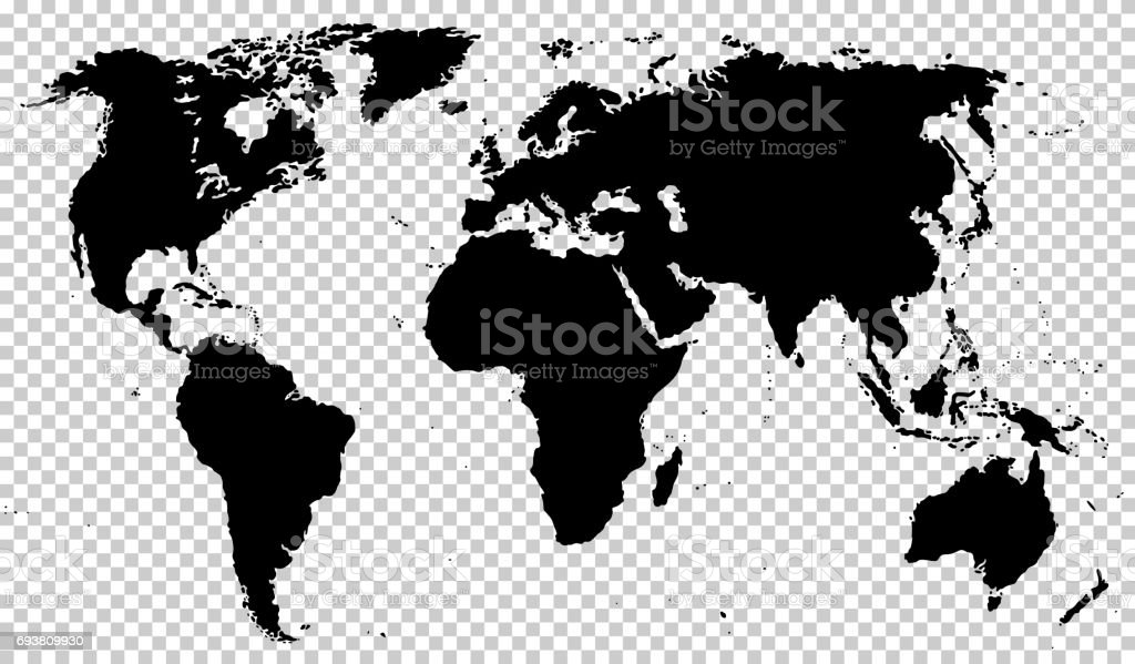 Black detailed world map isolated on transparent background stock black detailed world map isolated on transparent background royalty free black detailed world map gumiabroncs Images