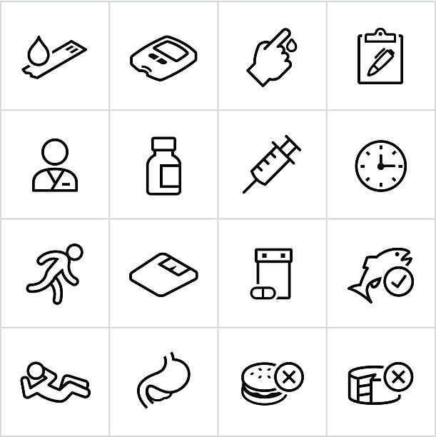 Black Diabetes Icons - Line Style Diabetes, Diabetic, Healthcare Icons. All strokes/lines expanded and merged. chronic illness stock illustrations