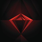 Abstract black diamond ruby in red dim light geometric form colored contemporary artistic background.