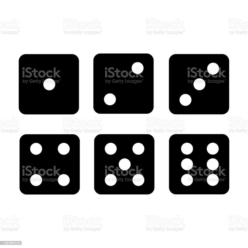 Iconos de dados negro - stock vector - ilustración de arte vectorial
