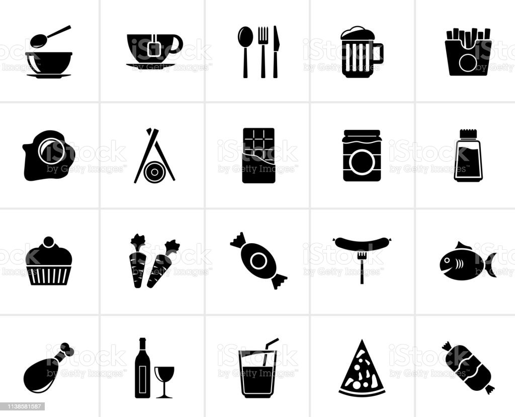 Black Different king of food and drinks icons 1 - vector icon set