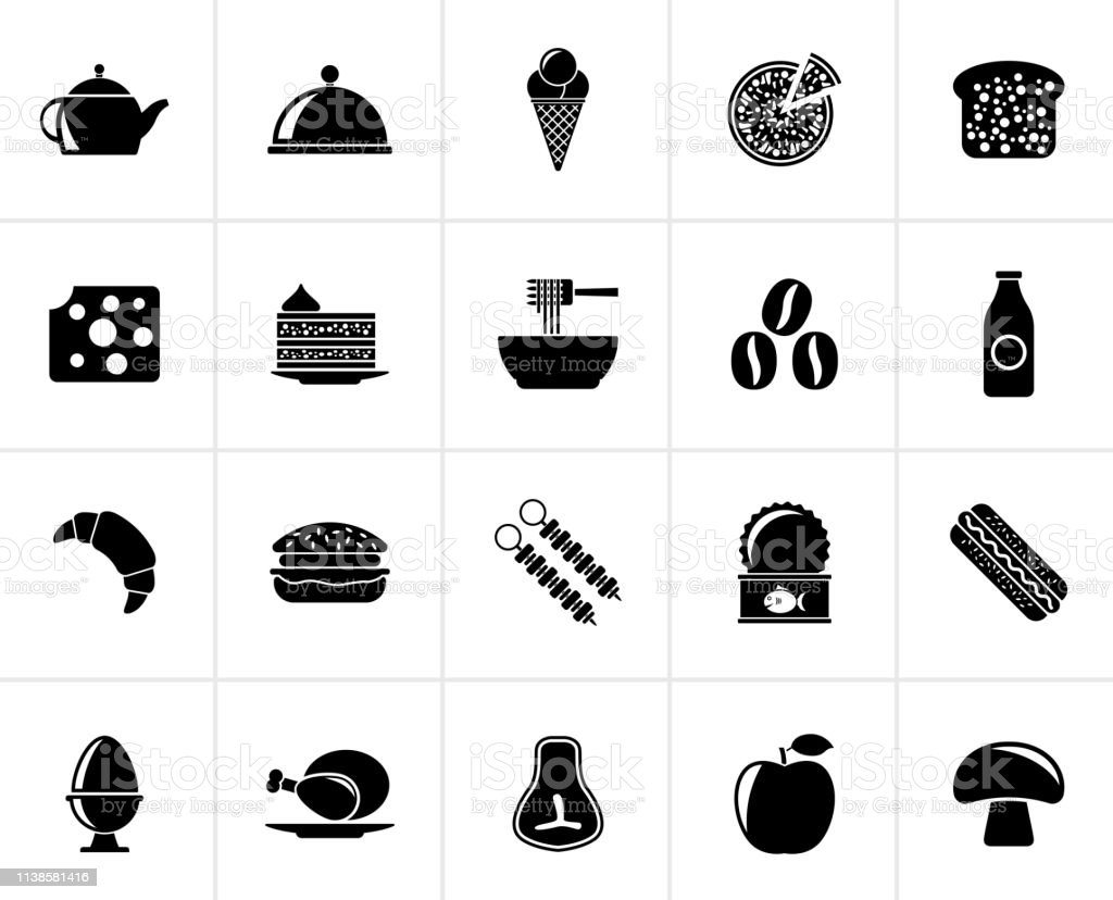 Black Different king of food and drinks icons 2 - vector icon set