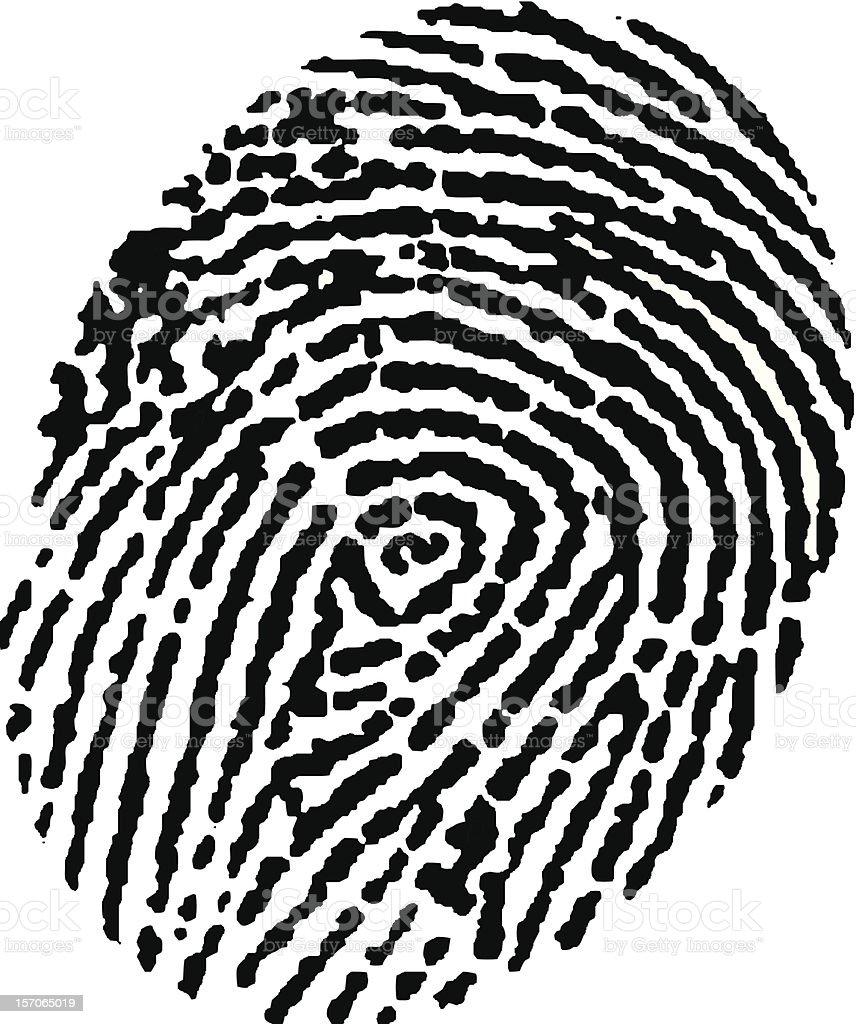 Black, digital fingerprint detail royalty-free stock vector art