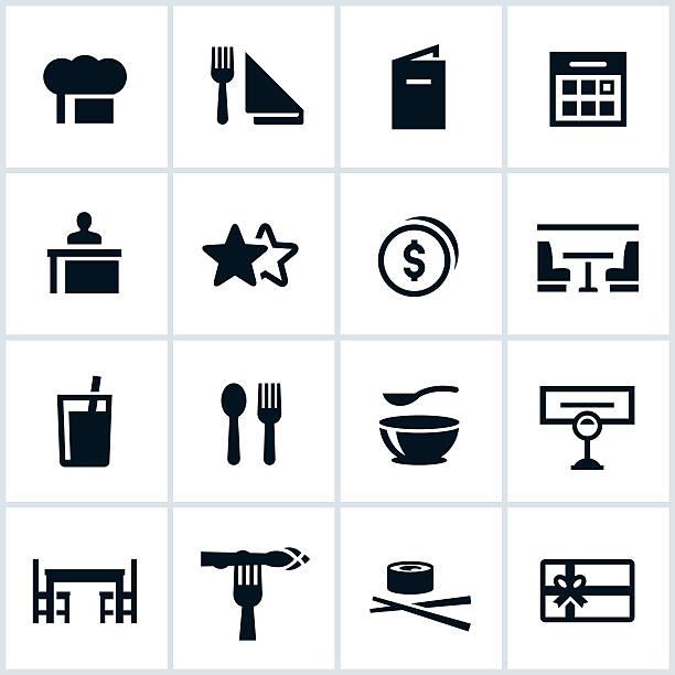 stockillustraties, clipart, cartoons en iconen met black dining icons - servet