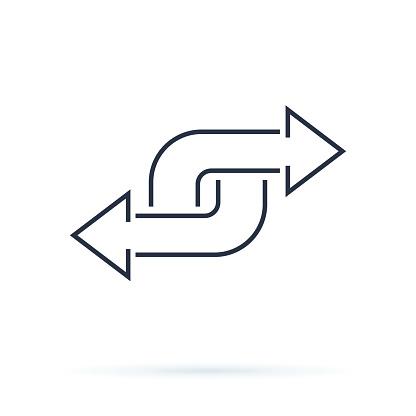 Black Direction Arrow Like Transfer Simple Flat Trend Modern Linear Logotype Graphic Art Design Isolated On White Background - Stockowe grafiki wektorowe i więcej obrazów Akta