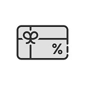 black discount icon like gift card. flat linear trend modern graphic design isolated on white background. concept of marketing transaction for consumer or supermarket service for vip client