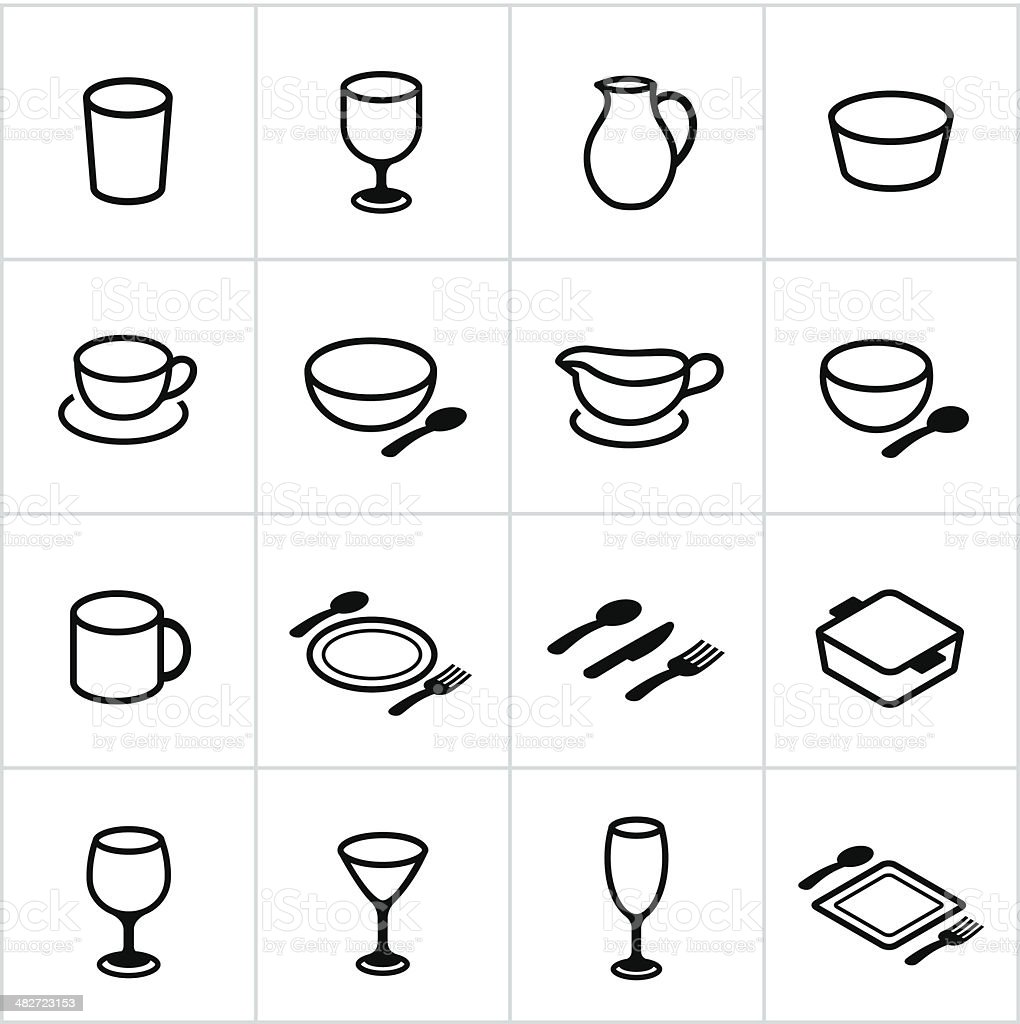 Black Dishes Icons royalty-free stock vector art