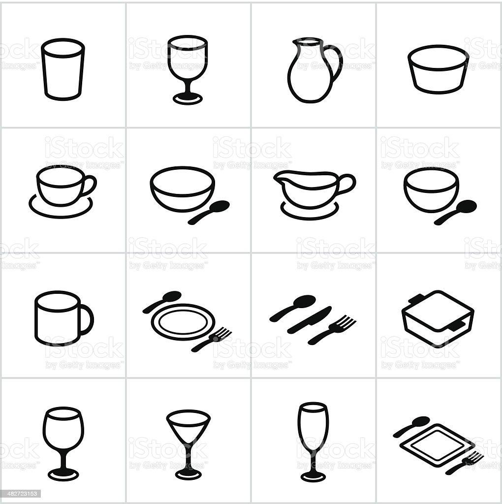 Black Dishes Icons vector art illustration