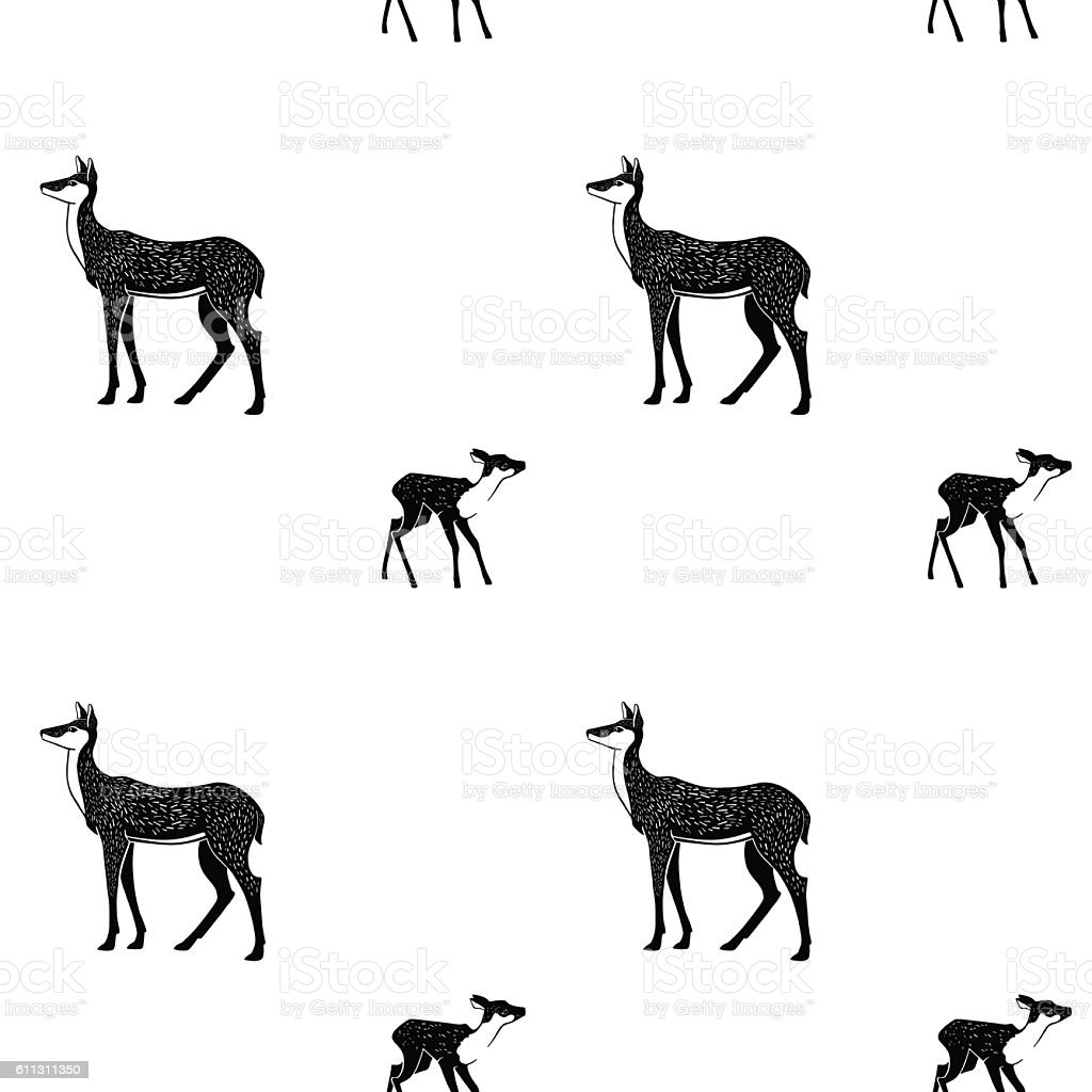 Black doe and fawn on white background. - Illustration vectorielle