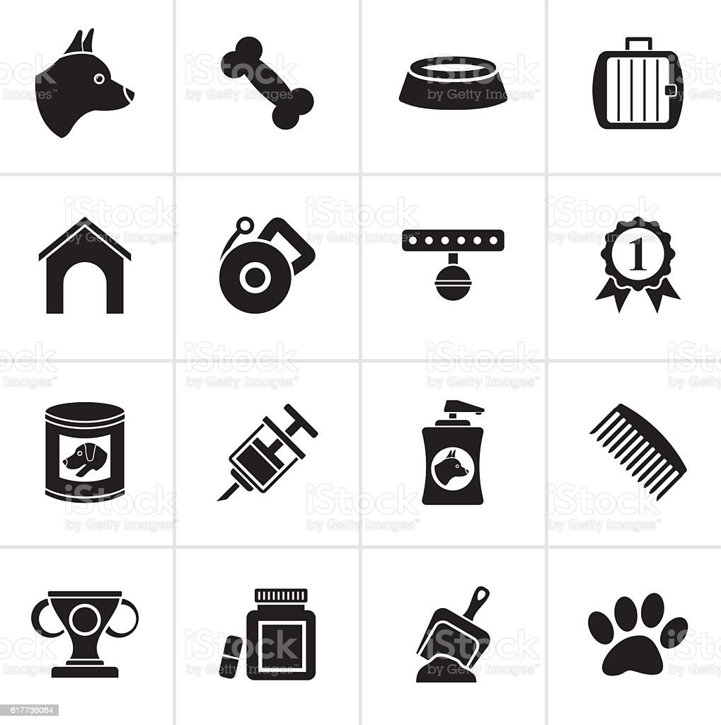 Black Dog and Cynology object icons vector art illustration