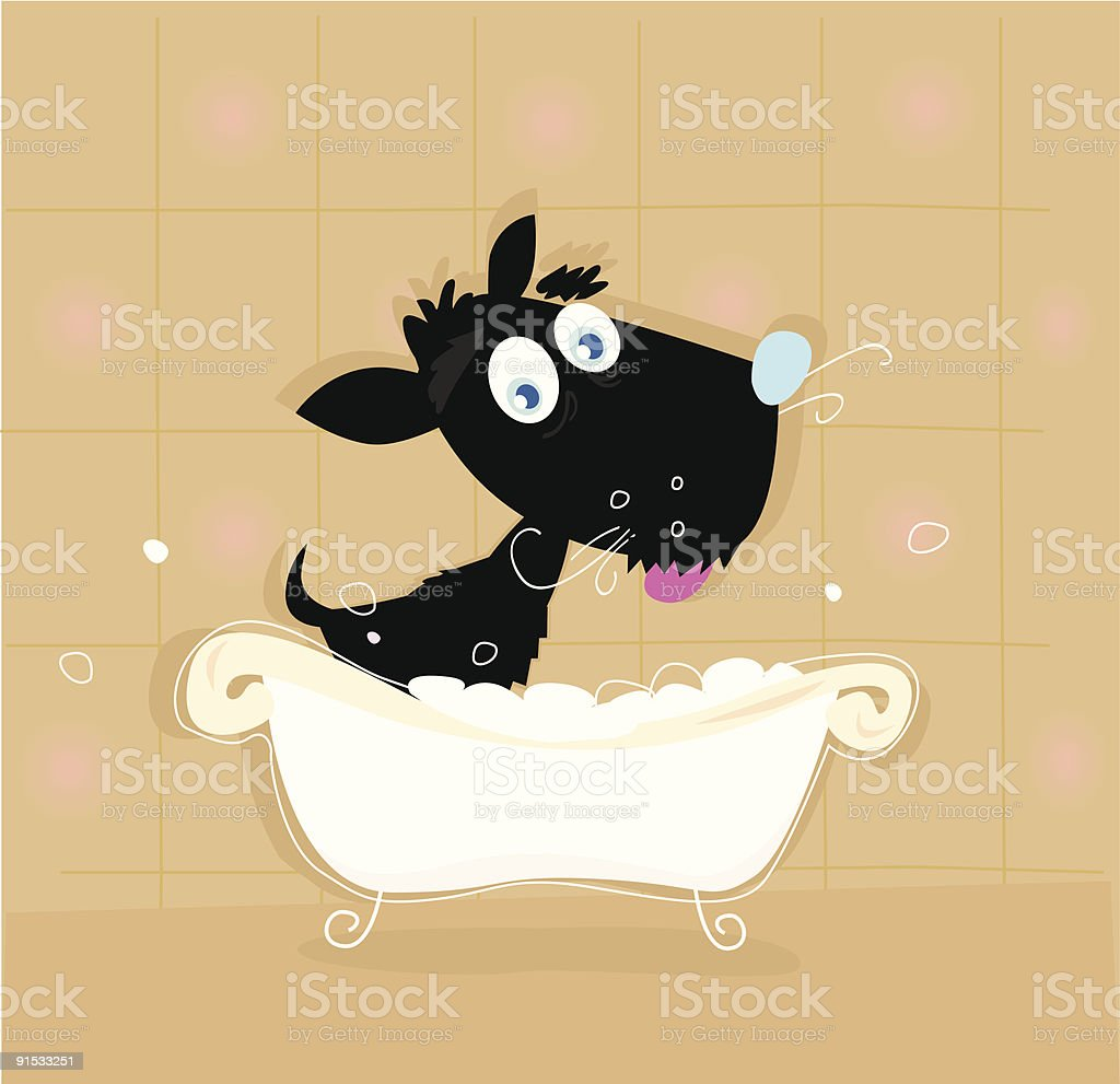 Black dog bath royalty-free stock vector art