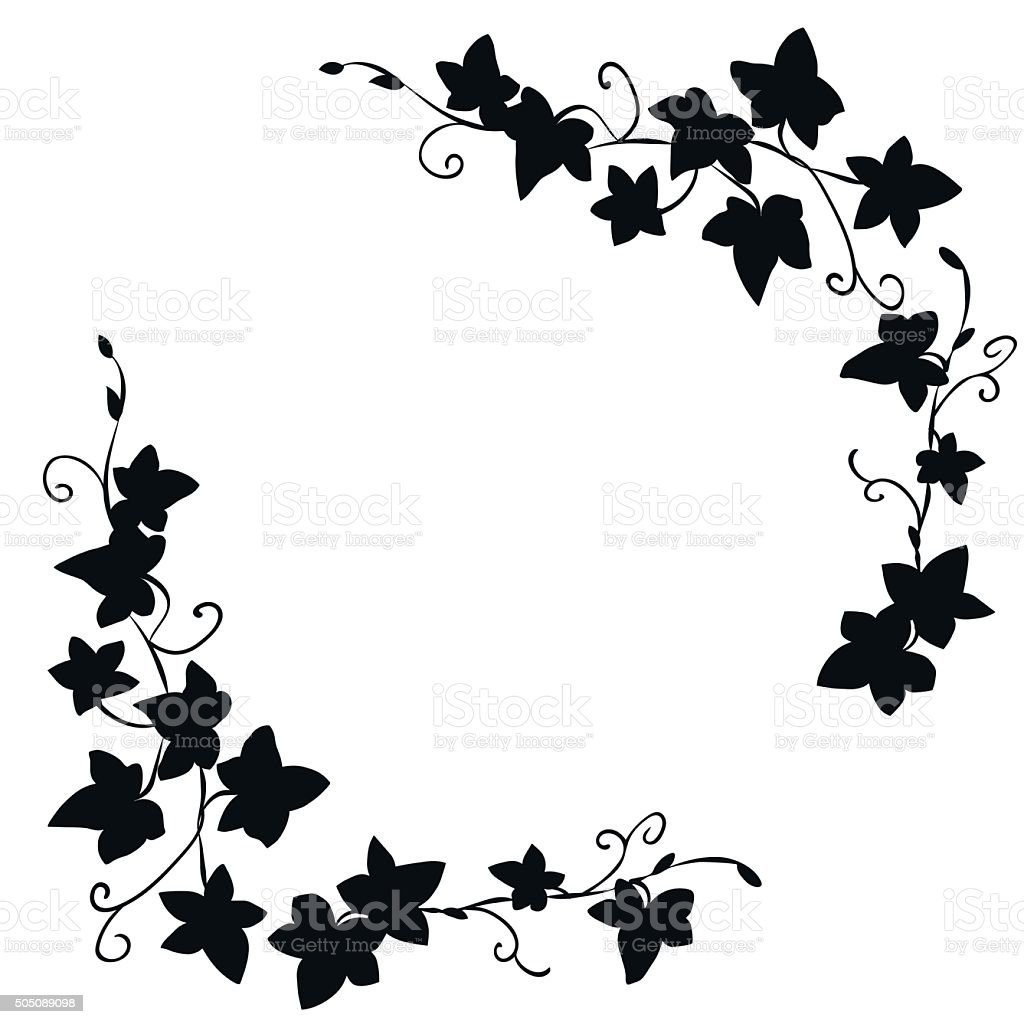 Black doodle ivy leaves pattern vector art illustration