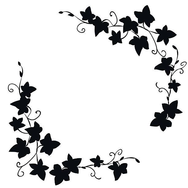 stockillustraties, clipart, cartoons en iconen met black doodle ivy leaves pattern - klimop