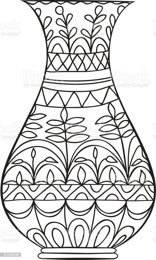 Black Doodle Vase For Flowers Adult Coloring Page Stock Vector Art ...