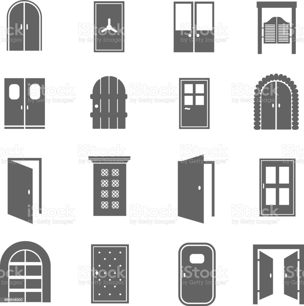Black door icons. Vector open and close, house and safe doors signs isolated on white background vector art illustration
