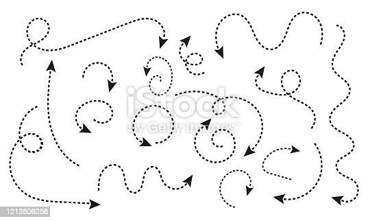 Set of black dotted arrows. A collection of conceptual arrows for web design, mobile apps, interface and more. Various black icons. Cursor. Vector illustration, EPS 10.