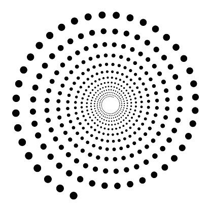 Black dotted spiral symbol. Simple flat vector design element