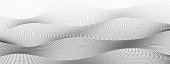 Black dotted squiggle lines with gradient. Digital halftone pattern. Abstract technology background, textured surface. Radio waves concept. Monochrome vector op art design. EPS10 illustration