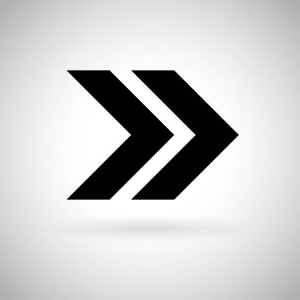 黑色雙箭頭。快進或下一圖示向量藝術插圖