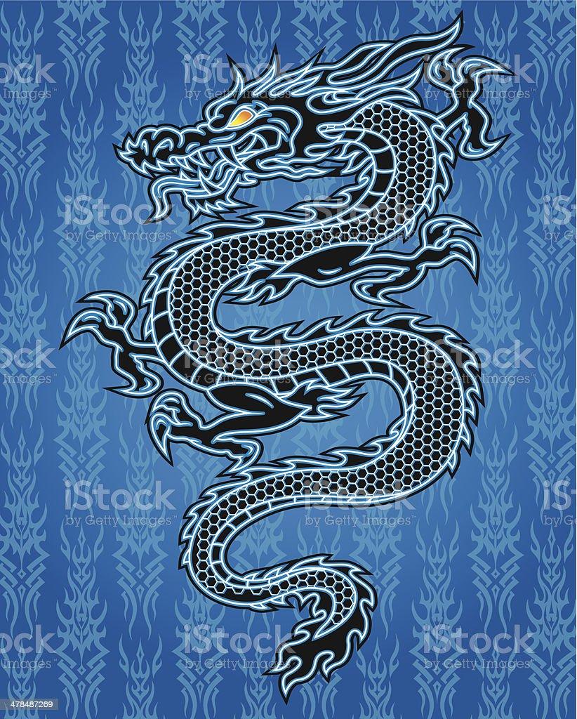 Drago Nero Su Sfondo Blu Immagini Vettoriali Stock E Altre