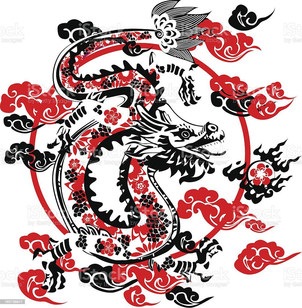Dragón negro - ilustración de arte vectorial