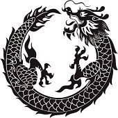 Chinese dragon flying in round motif. 2012 is the year of the dragon.
