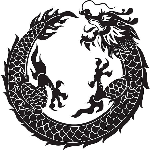 black dragon - dragon stock illustrations, clip art, cartoons, & icons