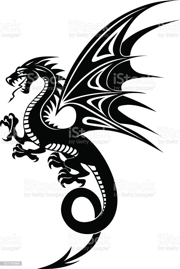 Black dragon vector art illustration