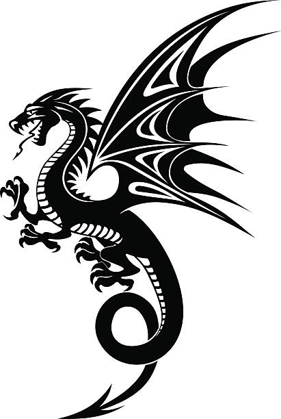 black dragon - fire tattoos stock illustrations, clip art, cartoons, & icons