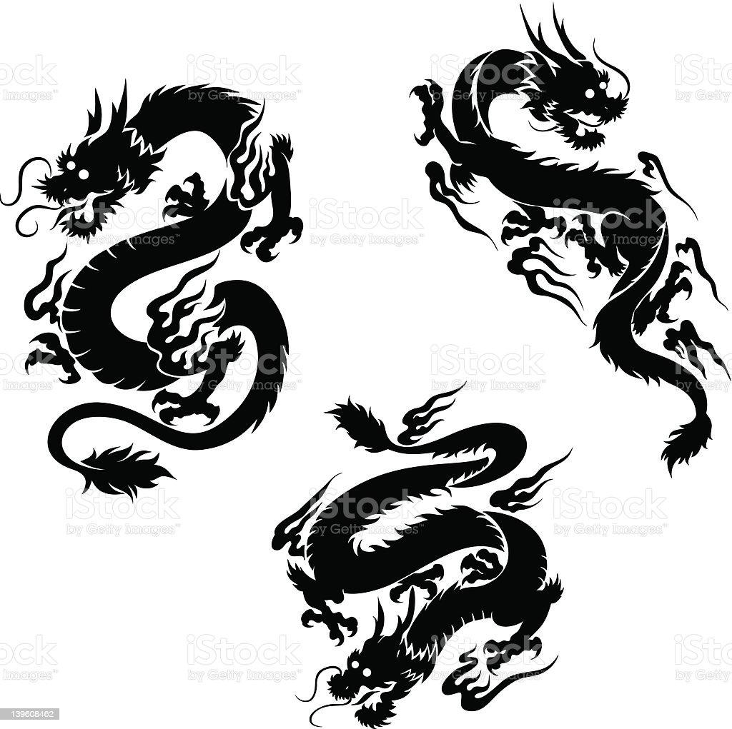 Negro dragons - ilustración de arte vectorial