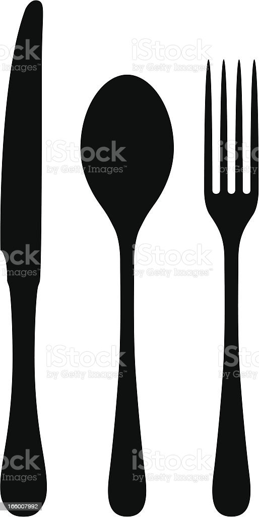 Black drawings of cutlery on a white background vector art illustration
