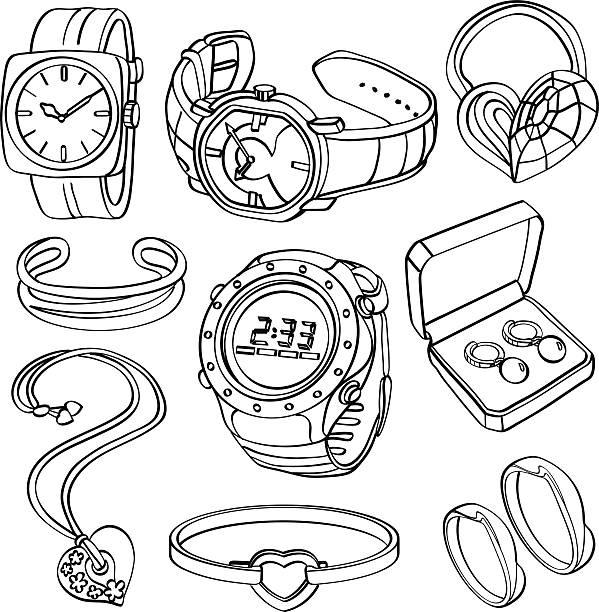 schmuck und uhren - paararmbänder stock-grafiken, -clipart, -cartoons und -symbole
